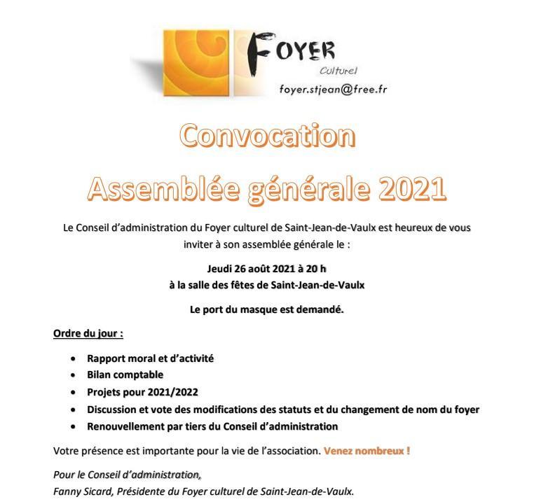 Image de couverture - ANNULATION: 26/08 ASSEMBLEE GENERALE: Foyer culturel de Saint-Jean-de-Vaulx