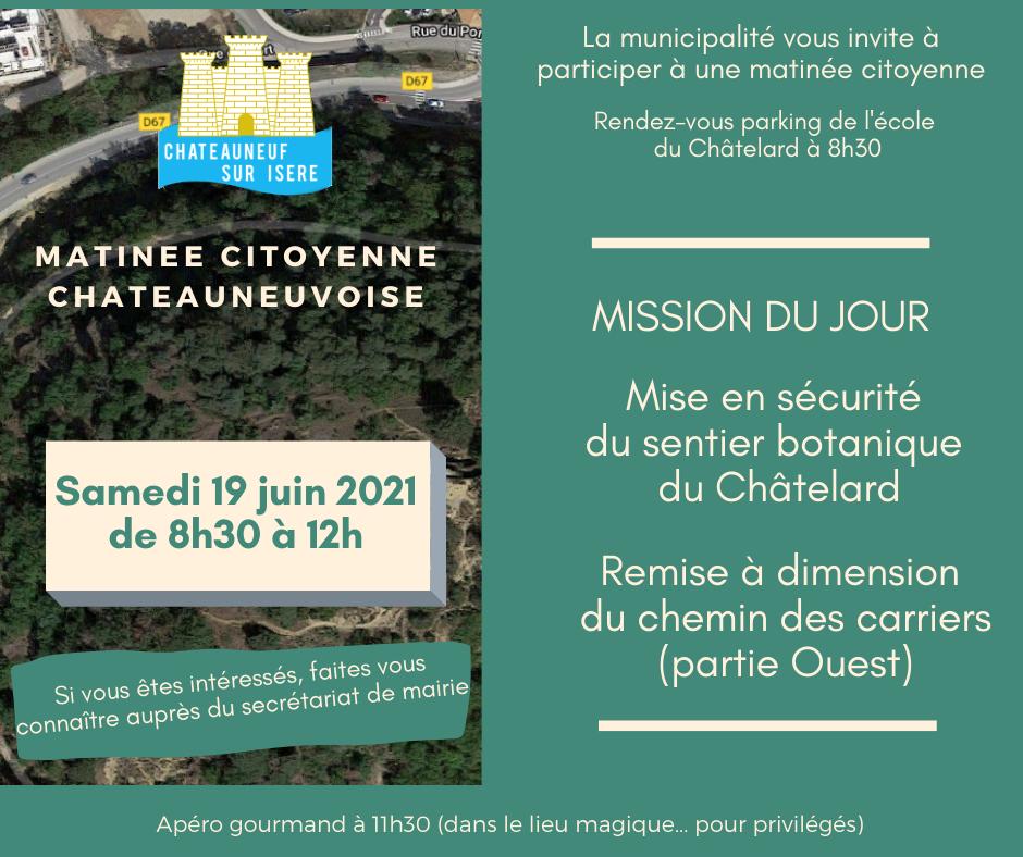 Image de couverture - Matinée Citoyenne Châteauneuvoise : Samedi 19 juin
