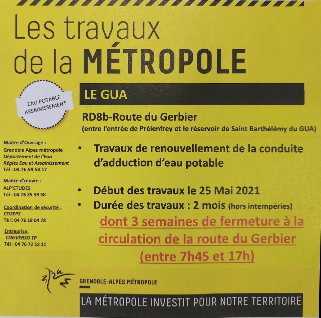 Image de couverture - Travaux sur la route entre Prélenfrey et le réservoir de St Barthelemy du Gua.