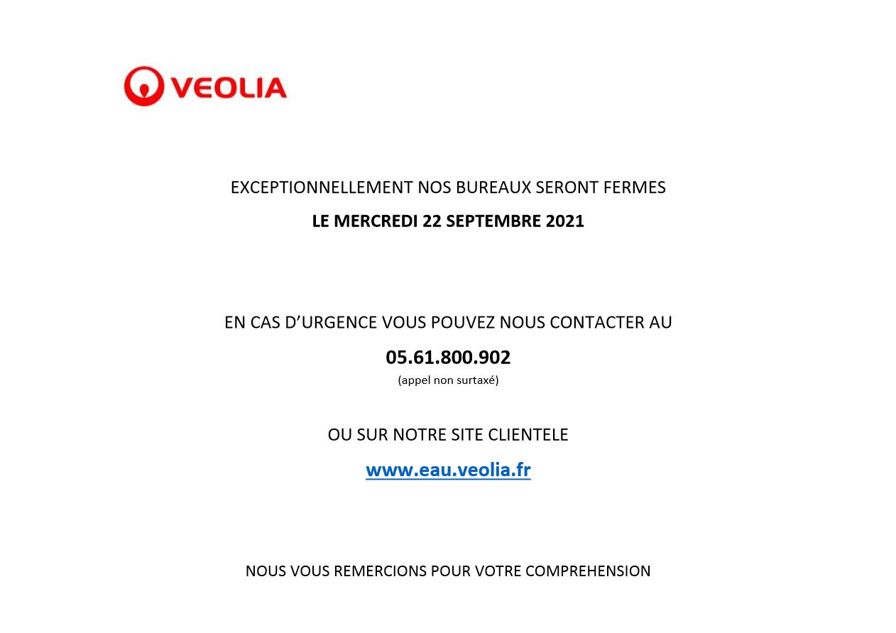 Image de couverture - FERMETURE PERMANENCE VEOLIA - 22/09/2021