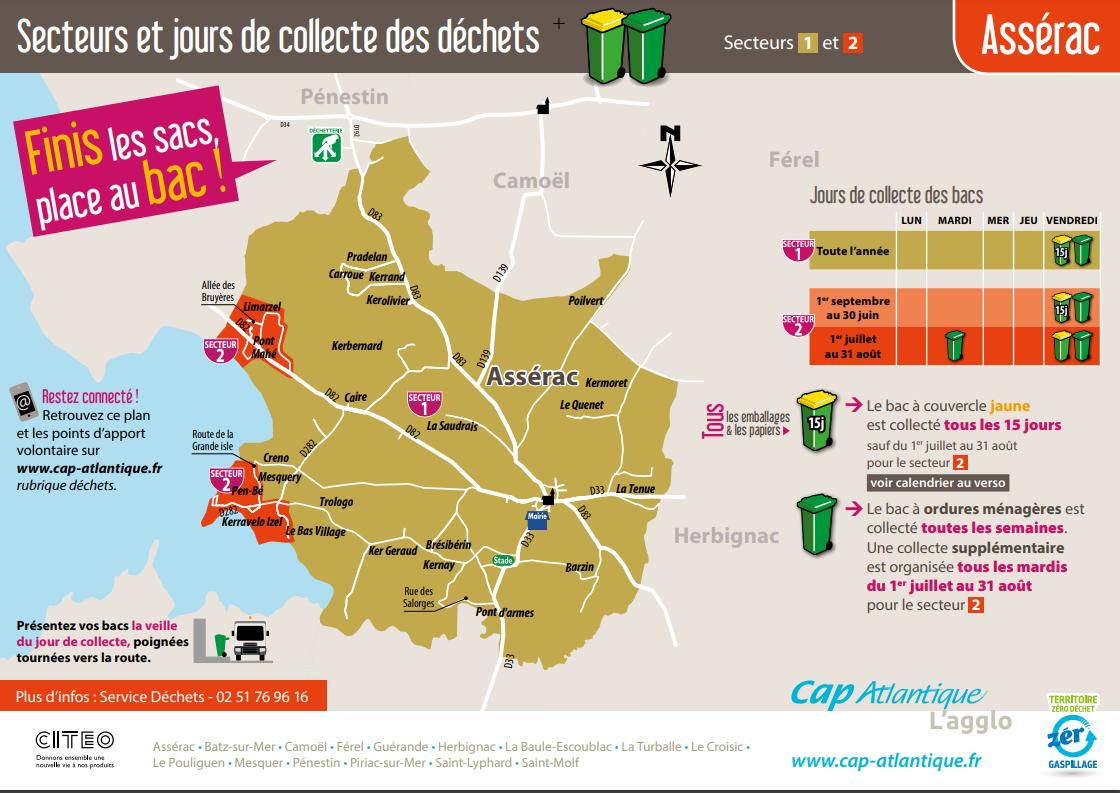 Image de couverture - Secteurs et jours de collecte des déchets secteur 1 et 2 commune d'Assérac