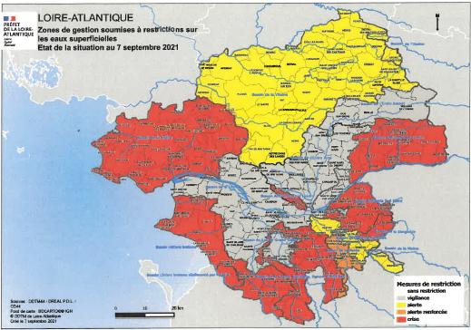 Image de couverture - Arrête préfectoral du 8 septembre 2021 portant des restrictions provisoire d'eau dan le departement de la loire atlantique