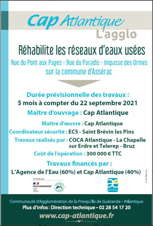 Image de couverture - Cap Atlantique réhabilite les réseaux d'eaux usées à ASSERAC