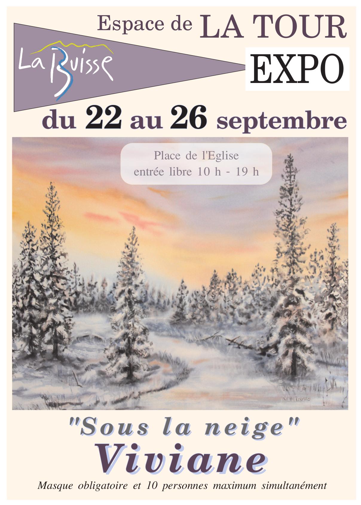 """Image de couverture - Exposition de Viviane """"Sous la neige"""" à l'Espace de la Tour du 22 au 26 septembre 2021"""